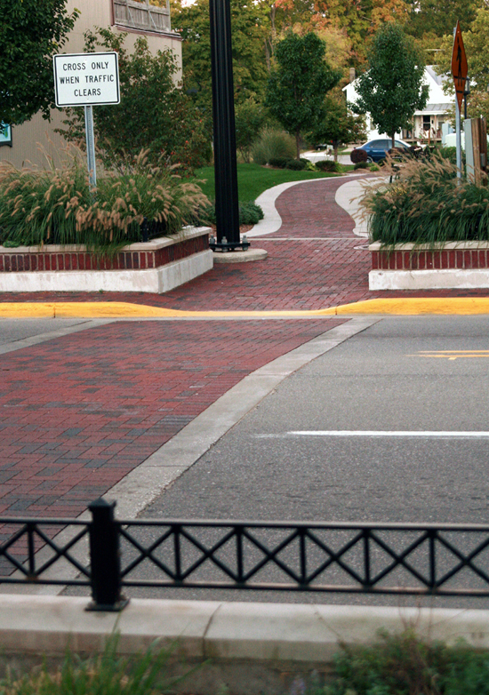 paver pedestrian crossing downtown