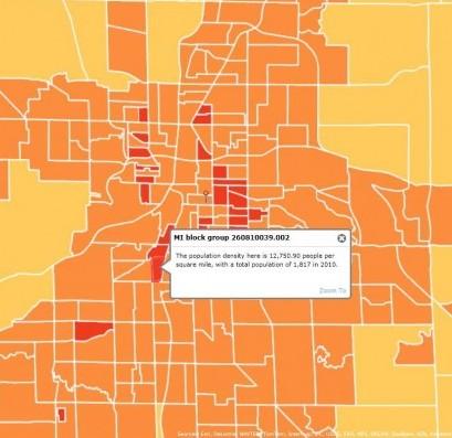 yellow and orange density map