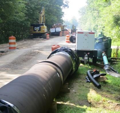 large underground pipe construction