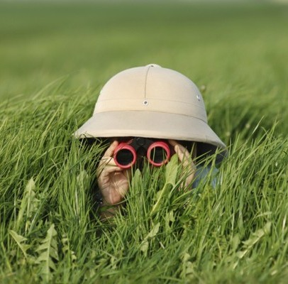 person in tall grass with binoculars and hat