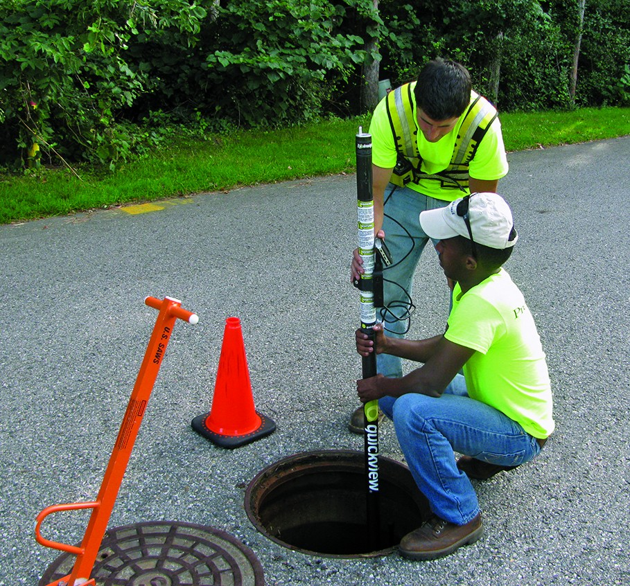 interns using zoom camera in a manhole