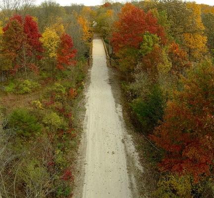 trail aerial, autumn trees