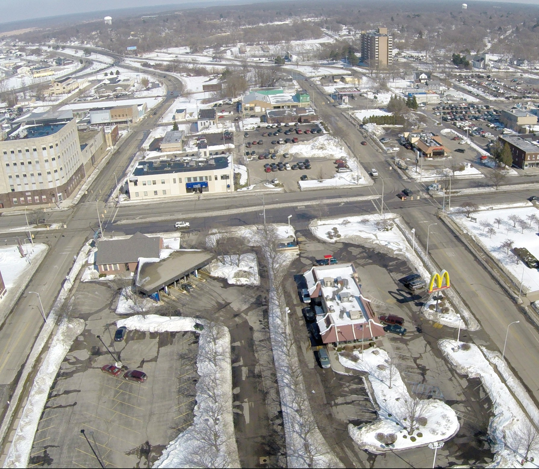 downtown muskegon aerial, winter
