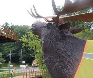Ralph the moose oversees new bridge installation in Cannonsburg