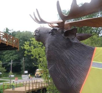 moose statue and bridge installment