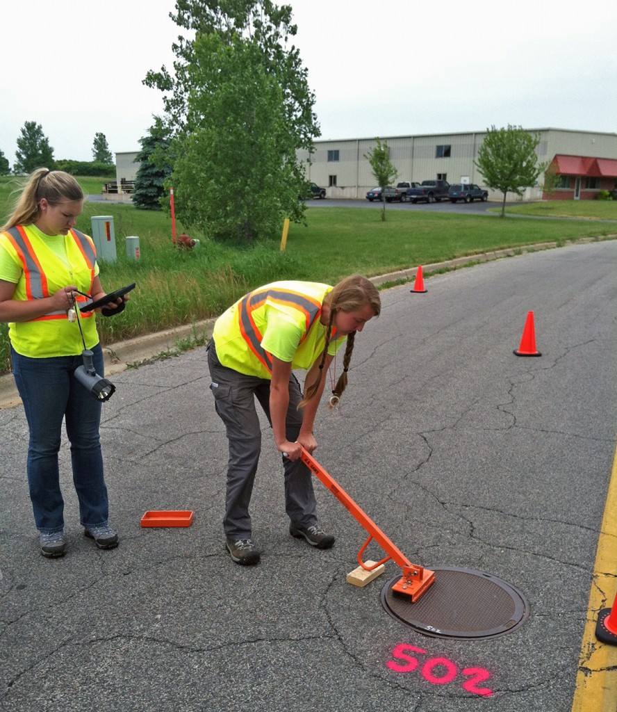 Prein&Newhof's SAW field crew gets a head-start collecting data in the City of Greenville.