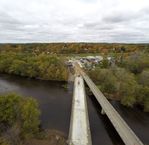two bridges side by side aerial
