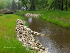 stream reinforced with rocks