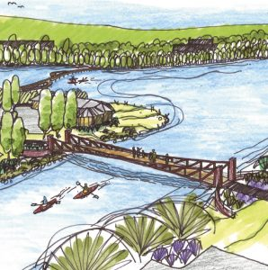 drawing of trail bridge over river