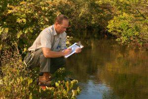 Environmental professional doing fieldwork