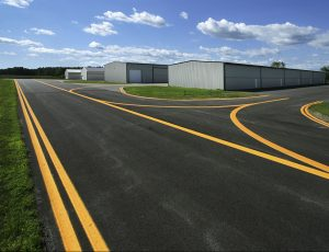 Airport hangars and tarmac in Greenville, MI. Prein&Newhof is one of the leading civil engineering firms in Michigan.